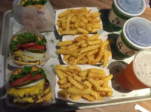Shake Shack burgers on tray
